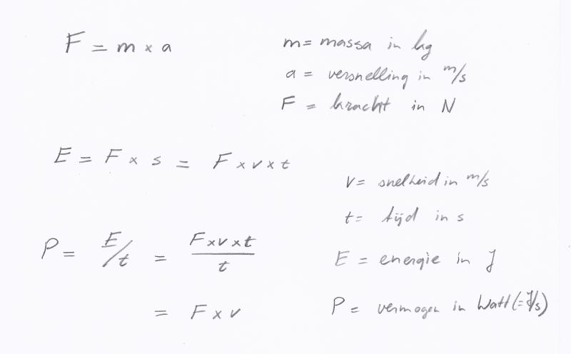 kracht-vermogen-formules